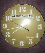 "Vintage Bulova 8""  Day / Date Electric Wall Clock  Working ~~ Made in  France"