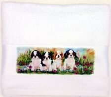 KING CHARLES SPANIEL PUPPY DOGS NEW OIL PAINTING PRINT LARGE HAND/GUEST TOWEL