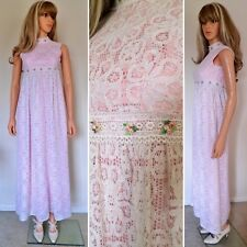 Nos Vtg 1960s CroCheTed CoTToN Lace Lined Bohemian HiPPiE BoHo Wedding Dress XS