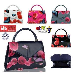 UK New Women's Ladies Popular Patent Poppy Flower & Butterfly Clutch Evening Bag