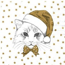 SERVIETTES EN PAPIER CHAT DE NOEL AU FUSAIN. PAPER NAKINS CAT CHRISTMAS CHARCOAL