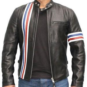 Easy Rider Peter Fonda Le Mans Grand Prix Retro Black Biker Real Leather Jacket
