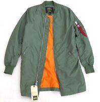 ALPHA INDUSTRIES L-2B Long Flight Jacket Lightweight Bomber Sage Orange Men's XS