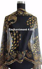 Elegant Oblong Lace Peacock Art Scarf Wrap w/ Sequin Black/Gold