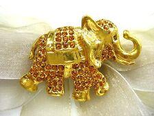 18k Gold Plate Elephant Swarovski Element Austrian Crystal Rhinestone Brooch Pin
