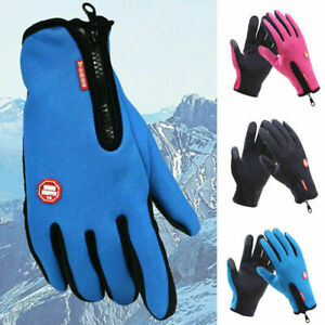 Mens Ladies Winter Thermal Insulated Ski Gloves Touch Screen Zip Outdoor Cycling