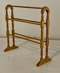 Artisan Handmade 1:12 Scale Miniature Wooden Towel Rail Signed Jane Newman 1989