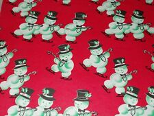 "Vtg Christmas Ice Skating Snowman Wrapping Paper Gift Wrap 1950s 20"" X 26"""