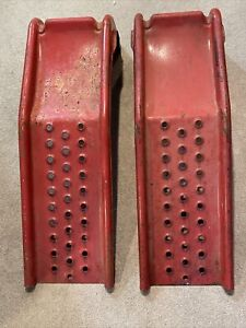 Pair Of Vintage Red Metal Automotive Car Ramps, Local pickup only