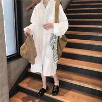 Women Ladies Long Shirt Dress Loose Casual Cotton Baggy Plus Size Blouse Fashion
