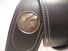 LEATHER BLACK EAGLE HEAD CONCHO, BASS/ACOUSTIC GUITAR STRAP