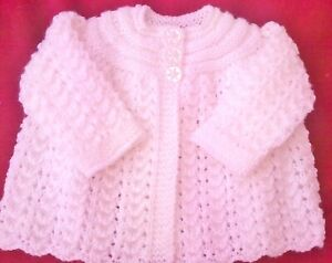 BEAUTIFUL HAND KNITTED MATINEE COAT/CARDIGAN 0 - 6 MONTHS PINK