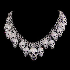 Skull Necklace Choker Female Jewelry Fashion Chain Silver Crystal Women Party
