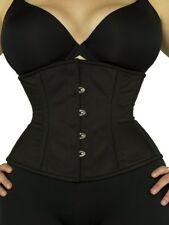 New! Authentic Black Cotton or Satin Underbust Corset Double Steel Boned- 411