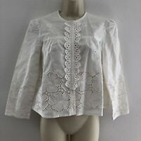 Nanette Lepore women's sz 6 top blouse long sleeve eyelet embroidered off white