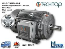 1 HP Electric Motor, GEN PURP, 1200 RPM, 3-Phase, 145T, Cast Iron, NEMA Premium