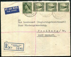 1/- Lyrebird (No wmk) strip of 3 + 3d QEII, FU on May 1958 registered airmail...