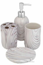 4 Piece Grey Faux-Marble Ceramic Bathroom Accessory Set w/ Stainless Steel Pump