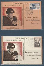 frb/ lot de 2 cartes journée du timbre Lyon en 1945