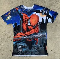 Men's Spiderman Marvel Double Sided Shirt Size M 100% Polyester Super Cool NWOT