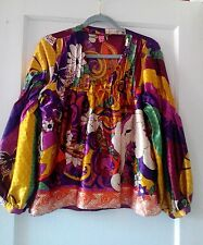 Farm,multi color,silk-poly.?,mardi gras, long sleeve,tunic style blouse,Sz.G(L)