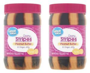 2 Great Value Creamy Stripes Peanut Butter & Grape Jelly 18 oz Jars