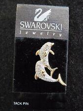 Swarovski Swan Signed Twin Dolphin Goldtone & Crystal Tac Tack Brooch Pin NEW