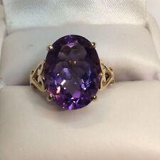 Huge Dark Purple Amethyst Gold Ladies Ring (j466)