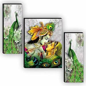 Set of 3 Radha Krishna UV Textured Painting 18 Inch X 12 Inch UK