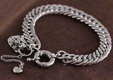 18k White Gold GF Simulated Diamond Leopard Heart Charms Curb Bolt Ring Bracelet