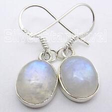 925 Silber ! REGENBOGEN-MONDSTEIN Oval Cabochon Edelstein Mode Ohrringe ! Neue