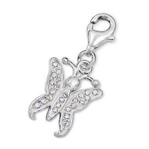 Silvadore BUTTERFLY CZ Crystal 925 Sterling Silver Clip On Charm Bracelet 417