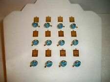 VTG (12) Blue Lucite Round Mustard Seed Charms Pendants + Bible Verse Charms G