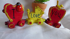 HANDMADE HAND PAINTED WOOD MAGNET HEART TRAIN WITH LOVE PHRAZES RED AND YELLOW