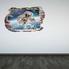 Astronaut Smashed Wall Sticker 3D Decal Outer Space Galaxy Boys Bedroom