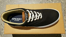 Sperry Men's Top-Sider Halyard CVO Saturate Canvas Boat Shoes SIZES! NIB Black