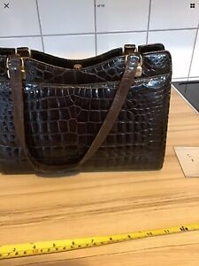 "Vintage Handbag - Dark Brown -Crocodile? Skin 12 X 10"" + Mirror"