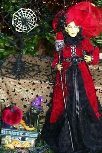 "HALLOWEEN large WITCH doll 24"" in RED outfit"
