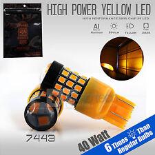 2X 50W 7443 LED Amber Yellow Turn Signal Parking DRL High Power Light Bulbs