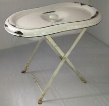 FRENCH Enamel Wash Basin Baby Bath Tub w/ Lid & Iron Stand Antique White