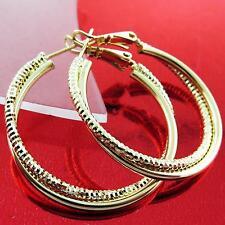 FS759 GENUINE REAL 18K YELLOW G/F GOLD DIAMOND CUT STUD HOOP TWIST EARRINGS