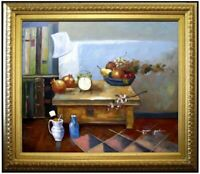 Framed, Still Life with Clock and Fruits, Hand Painted Oil Painting 20x24in