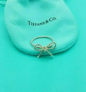 Tiffany & Co Sterling Silver Twist Bow Ribbon Italy Ring size O or 7.2 US RARE