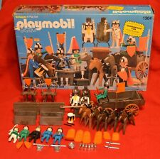 VINTAGE PLAYMOBIL 1304 KNIGHT SUPER DELUXE SET W/BOX MOSTLY COMPLETE CASTLE KING