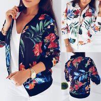 Fashion Women Printed Long Sleeve Tops Zipper Jacket Outwear Loose Cardigan Coat