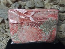Nwot 3 piece quilted coral cotton cosmetic bags