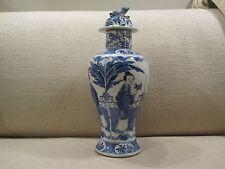 19th CENTURY Cinese Blu & Bianco Porcellana Vaso di balaustre e coprire