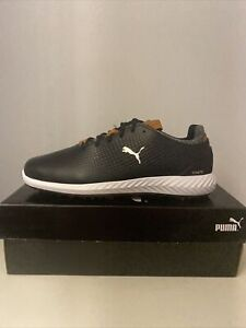 Men's Puma Ignite Pwradapt Leather Waterproof Spiked Golf Shoes Black UK 9