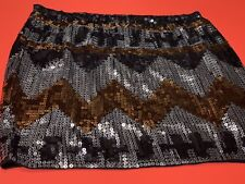 "Envy Me *RARE* ""AZTEC DESIGN-LARGE"" Rust/Silver/Gunmetal Sequin Mini-Skirt, NWT"