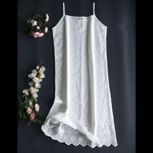 Lady Underdress Petticoat Full Slip Cotton Lace Hollow Hem Striped Soft Summer